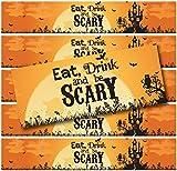 24 WATERPROOF Water Bottle Labels (Eat Drink & Be Scary Haunted House)