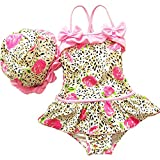 Volyer Girls Leopard and Flower One-piece Swimwear Suit with Cap