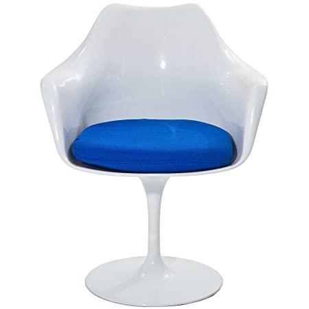 Swivel Armchair in Gloss White Colors (Blue)