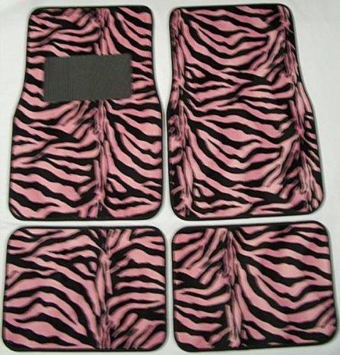 Pink And Black Zebra Tiger Print Carpet 4 Piece Car Truck Suv Floor Mats [Misc.] front-19868