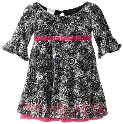 Nannette Little Girls' 1 Piece Floral Dress, Black, 2T