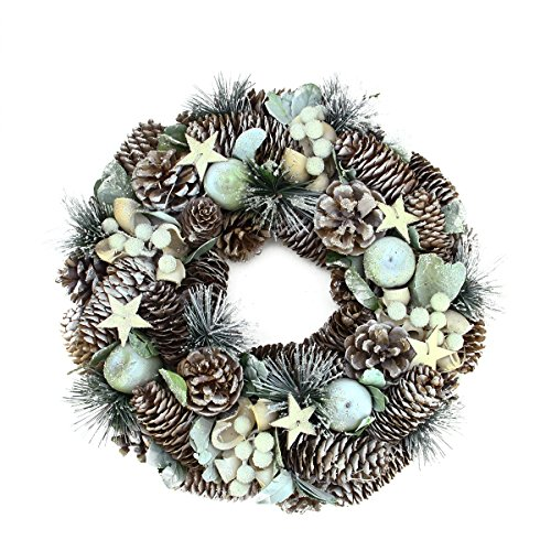 Northlight Unlit Frosted Pine Cone Apples and Bay Leaves Artificial Christmas Wreath, 13""