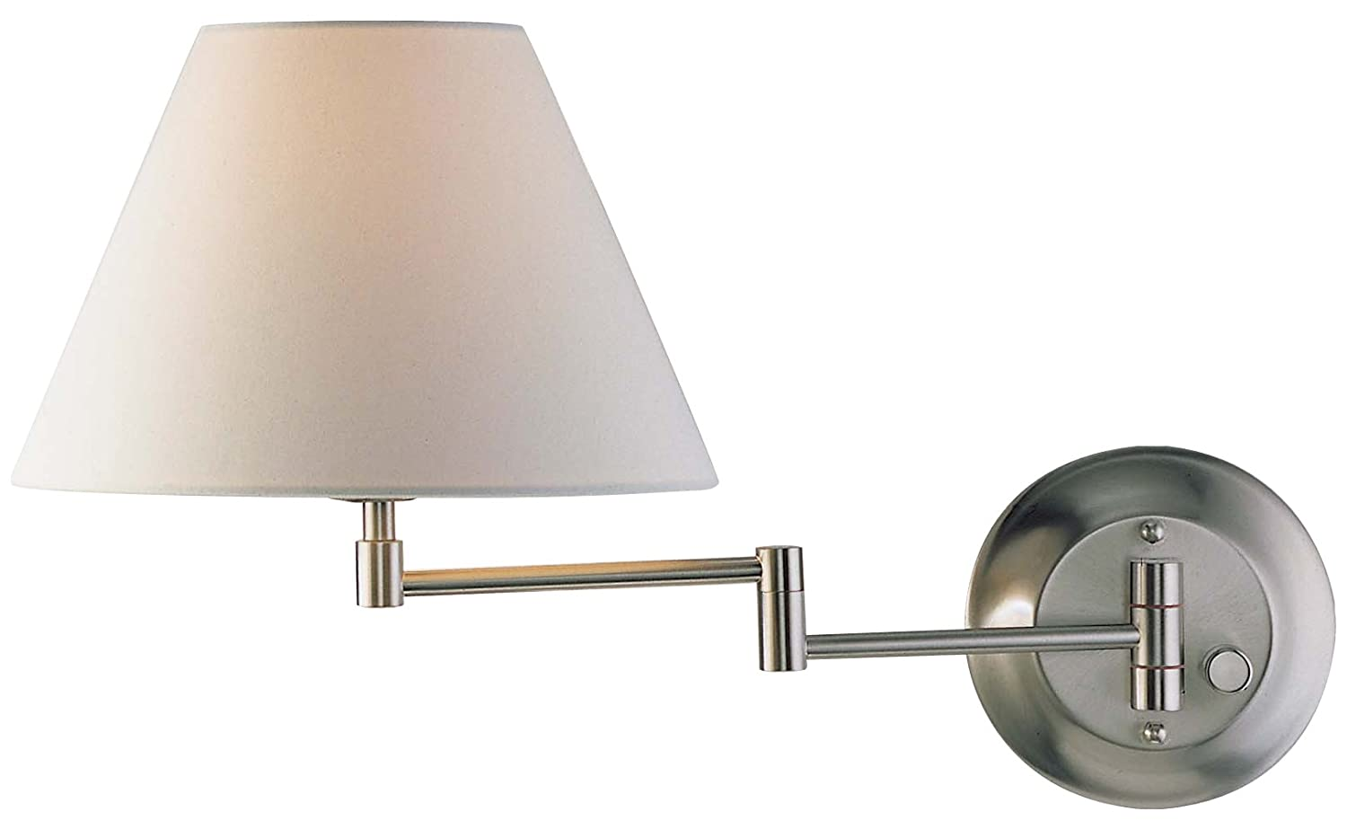 Holtkoetter Swing Arm Wall Sconce with Fabric Shade Satin Nickel with Satin White Shade Wall ...