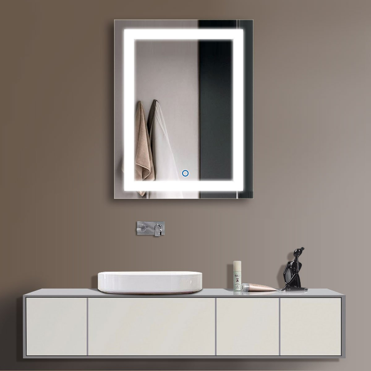 24 x 32 In Vertical LED Bathroom Silvered Mirror with Touch Button (C-CK168)