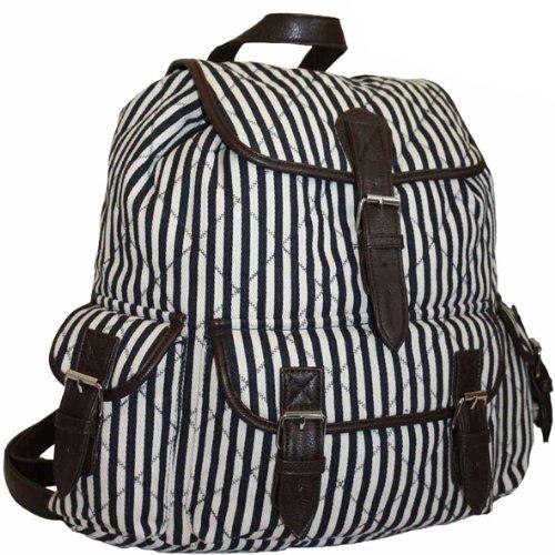 Ladies Girls Canvas Black and White Stripes Backpack Rucksack Handbag Work School Beach Bag Striped