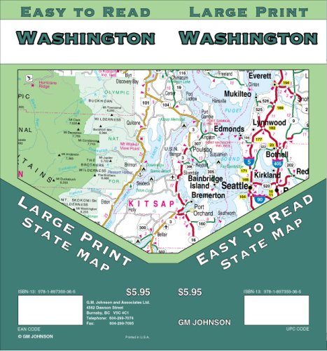 Washington Large Print State Map