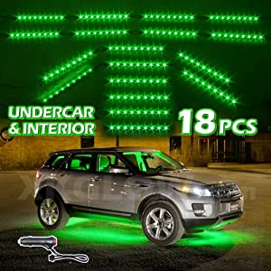 green premium 18pcs underglow car interior three mode led neon accent light kit. Black Bedroom Furniture Sets. Home Design Ideas