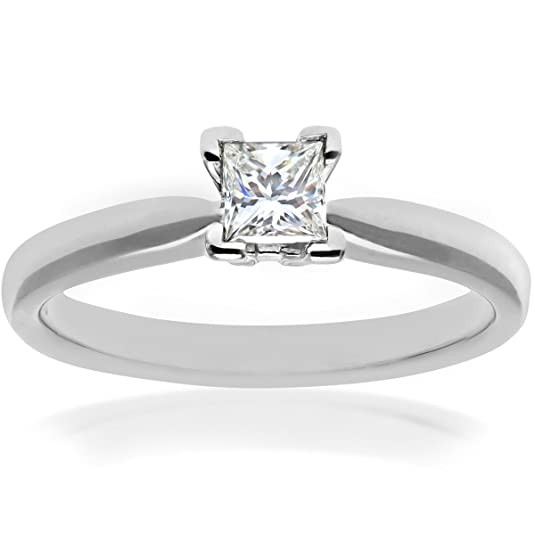 Naava 18ct 4 V-Prong Engagement Ring, E/VVS2 EGL Certified Diamond, Princess Cut, 0.35ct