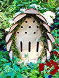 Beneficial Insect House - Rustic Look Habitat with Natural Wood & Moss - Beneficial House for Pollination (Large)