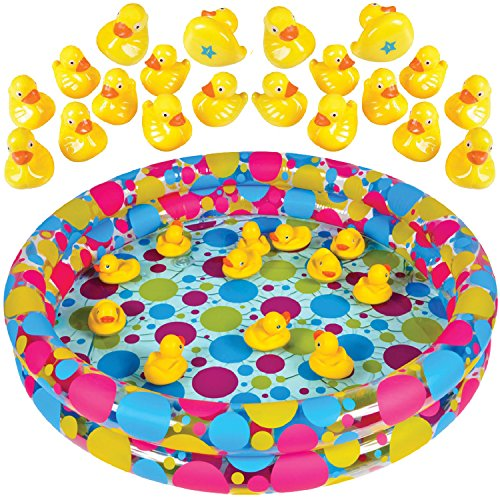 Duck Pond Matching Game for kids by GAMIE - Includes 20 Plastic Ducks with number & shapes And 3' x 6