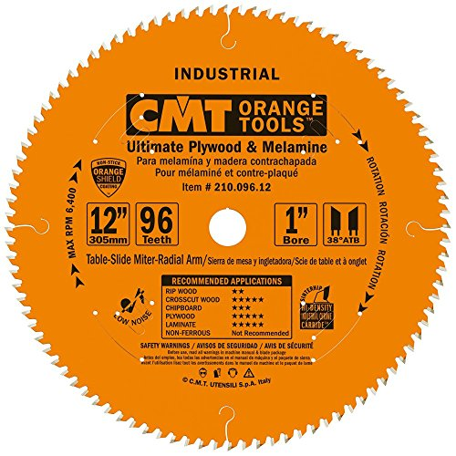 CMT 210.096.12 Industrial Fine Cut-Off Saw Blade, 12-Inch x 96 Teeth 38° ATB Grind with 1-Inch Bore, PTFE Coating (12 Inch 96 Tooth Saw Blade compare prices)