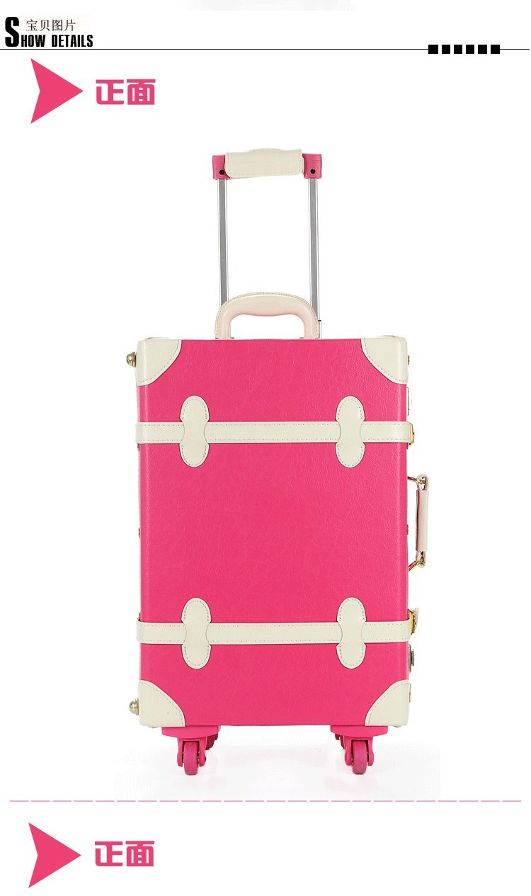 DPIST® Luggage Sets On Sale Vintage & Retro Style Carry-On Trolley Luggage and Cosmetic Tote Bag Set 2