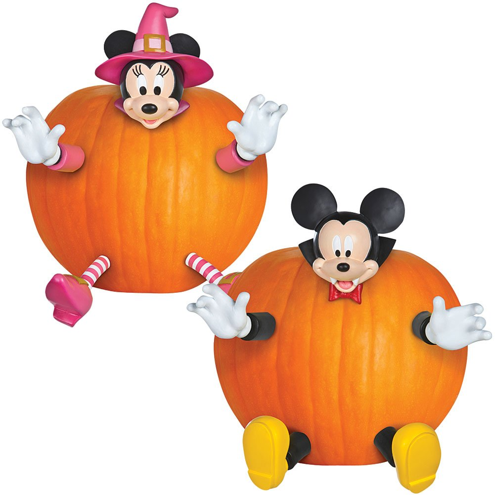 Disney Halloween Décor Set- Mickey and Minnie Mouse Festive Pumpkin Push-ins