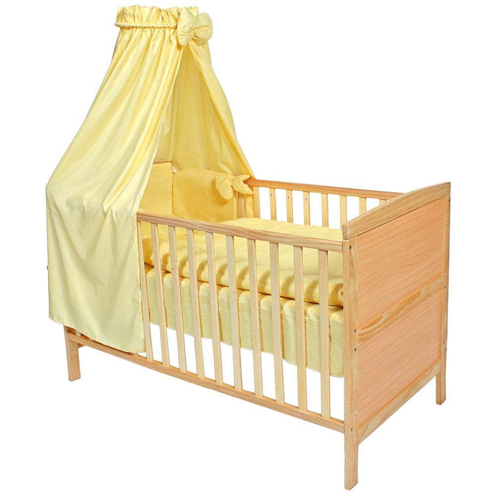 TecTake® Babybett Komplettset mit Himmel 3in1 gelb günstig