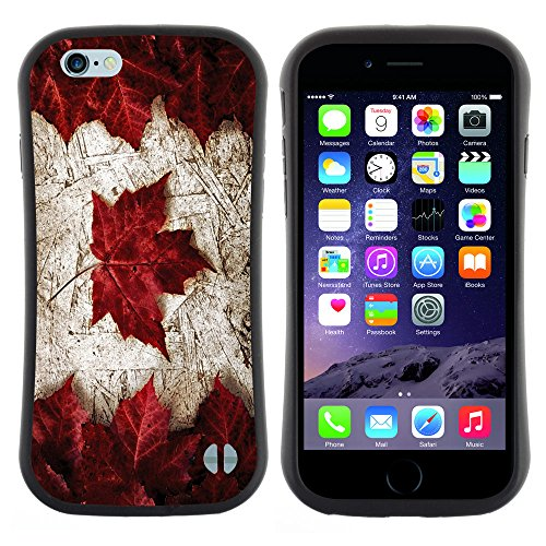 Graphic4You Maple Leaves Canada Canadian Flag Curved Shock-Proof Soft Rubber Anti-Slip Hybrid Gel Case Cover for Apple iPhone 6 Plus / 6S Plus (Canada I Phone 6 Cover compare prices)