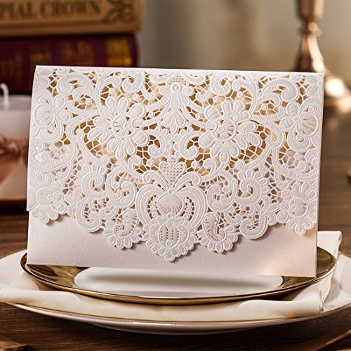 Wishmade 50pcs Ivory Laser Cut Lace Wedding Invitation kit Card Stock with Embossed Floral For Marriage Party Supplies (Set of 50 Piece) 2