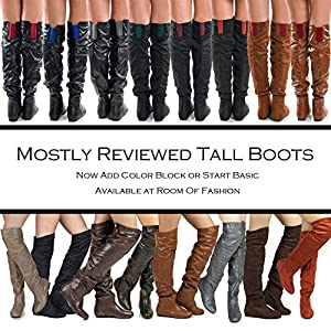 Women's TREND-Hi Over-the-Knee Thigh High Flat Slouchy Shaft Low Heel Boots by ROOM OF FASHION WINE SU (13)