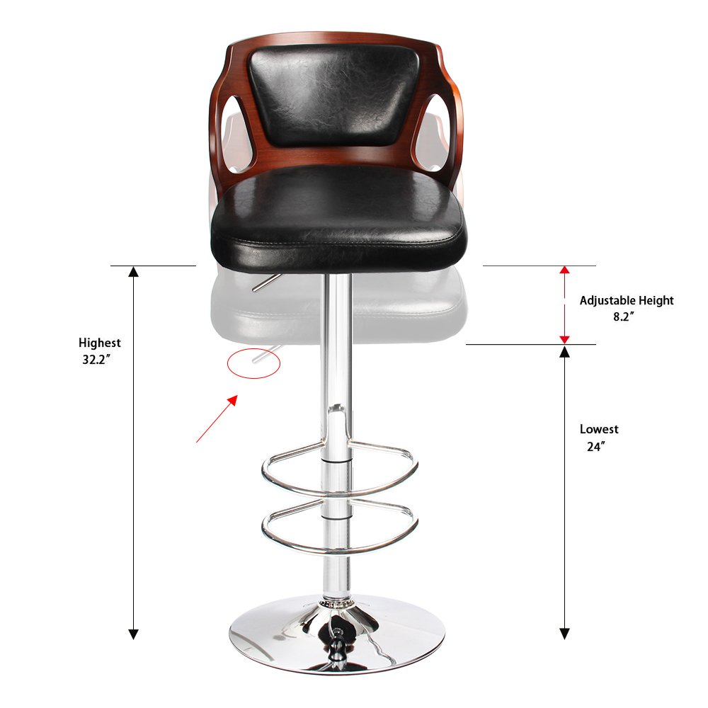 Homall Walnut Bentwood Adjustable Height Leather Bar Stool
