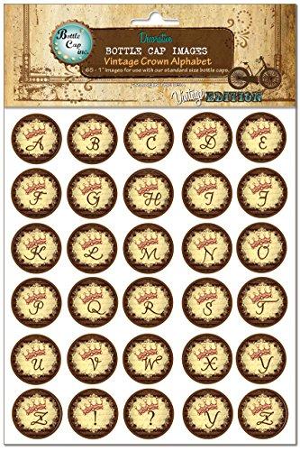 Bottle Cap Images, Vintage Crown Alphabet (Bottle Cap Bottle Opener Keychain compare prices)