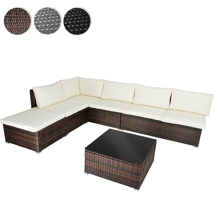 Miadomodo Salotto giardino divano con tavolino polyrattan colore marrone