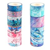 Molshine Set of 12 Washi Masking Tape,Sticky Paper Tape,Crafts Tape for DIY,Bullet Diary Decorative,Gift Wrapping,Scrapbook, Office,Party Supplies,Collection- Dream Watercolor Series (Color: Dream Watercolor Series)