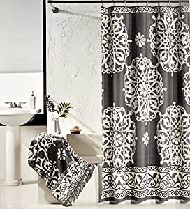 Tahari Luxury Cotton Shower Curtain Charcoal Gray And Ivory White Large Scroll
