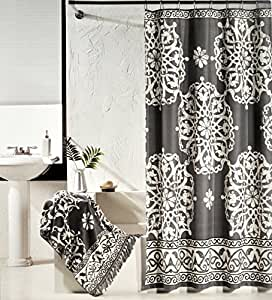 Tahari luxury cotton shower curtain charcoal for Charcoal bathroom accessories