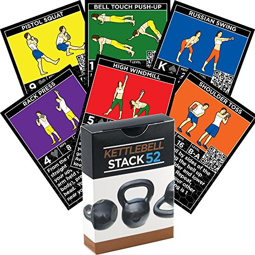 Kettlebell Exercise Cards by Strength Stack 52. Kettlebell Workout Playing Card Game. Video Instructions Included. Learn Kettle bell Moves and Conditioning Drills. Home Fitness Training Program. (Bjj Timer compare prices)
