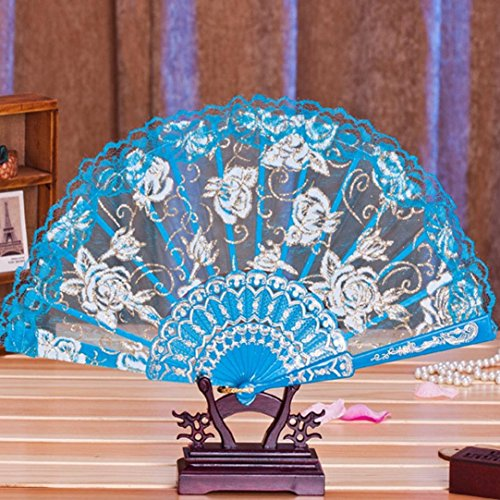Binmer(TM) Multi-color Dance Party Wedding Lace Flower Folding Hand Held Flower Fan Chinese Fans (Blue)