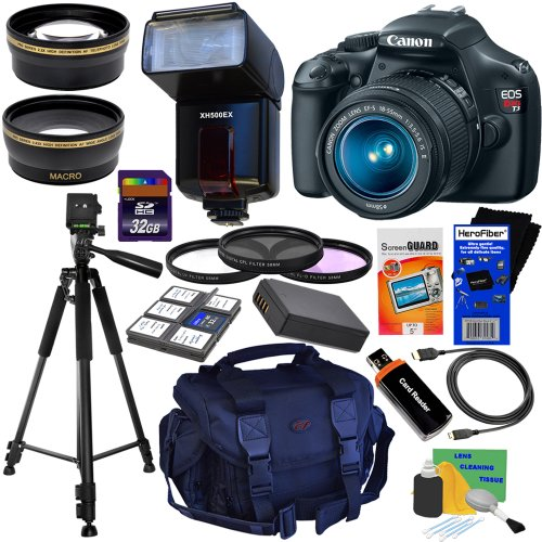 Canon EOS Rebel T3 12.2 MP CMOS Digital SLR Camera with EF-S 18-55mm f/3.5-5.6 IS II Zoom Lens + TTL Dedicated Digital AF Flash + HD Wide Angle & HD Telephoto AF Lenses + 3pc Filter Kit + 11pc Bundle 32GB Deluxe Accessory Kit w/ HeroFiber® Ultra Gentle Cleaning Cloth