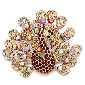 Pugster Shinnng July Birthstone Red Crystal Golden Peacock Brooches And Pins