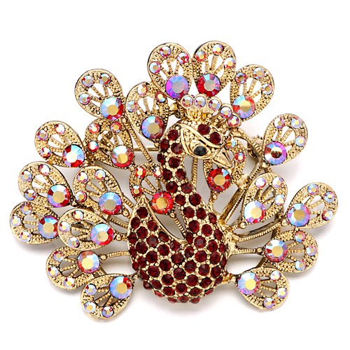 Christmas Gifts Pugster Shinnng July Birthstone Red Crystal Golden Peacock Brooches And Pins