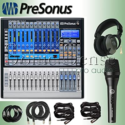 PreSonus StudioLive 16.0.2 Audio Mixing Console Bundle w Microphone, Headphones, Cables by PreSonus