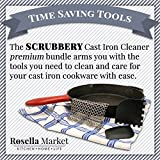 Chain Mail Cast Iron Cleaner Kit by Rosella Market Includes: Premium XL 316 Stainless Steel SCRUBBERY Chainmail Scrubber, 2 Pan Scrapers, Silicone Hot-Handle Holder, Storage Hook