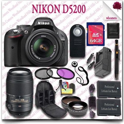 Nikon D5200 Digital Slr Camera With 18-55Mm Af-S Dx Vr (Black) + Nikon 55-300Mm Af-S Dx Vr Lens (Refurbished) + 64Gb Sdhc Class 10 Card + Wide Angle Lens / Telephoto Lens + 3Pc Filter Kit + Slr Camera Backpack + Wireless Remote 21Pc Nikon Saver Bundle