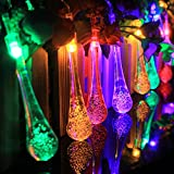 Solar Outdoor String Lights - Megadream® 16ft 20 LED Water Drop Solar String Fairy Waterproof Christmas Solar Powered String Light for Garden - Patio - Yard - Home - Christmas Tree - Parties - 8 Flash Modes