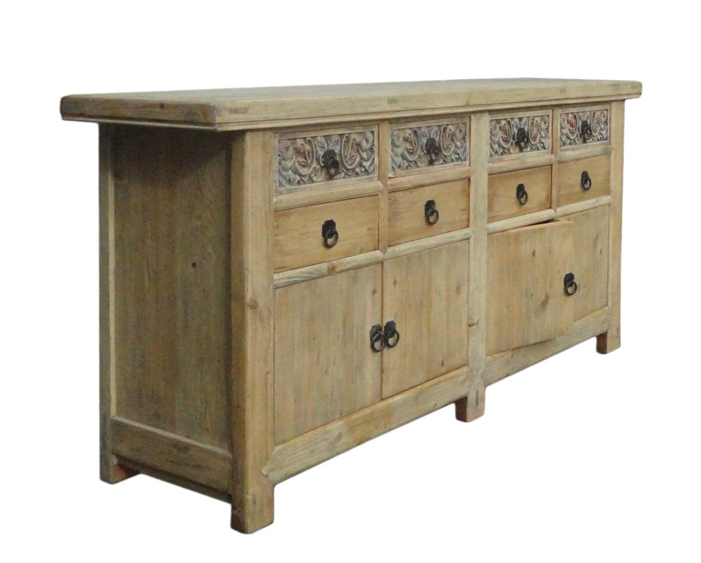 Chinese Vintage Natural Finish Carving Sideboard Buffet Cabinet Acs1147 2