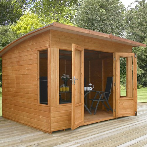 10ft x 8ft Helios Shiplap Pent Wooden Garden Summerhouse - Brand New 10x8 Tongue and Groove Wood Summerhouses