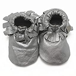 Sayoyo Baby Silver Tassels Soft Sole Leather Infant Toddler Prewalker Shoes (0-6 months, Silver)