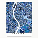 Budapest Map Print, Hungary, Europe City Wall Art, Blue