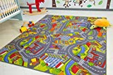 Kids Road Map Playmat Rug City - Children's Play Village Mat Town Roads Cars, Size 300x400 cm (9'9