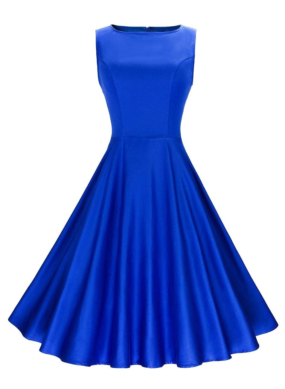 Anni Coco Women's Classy Audrey Hepburn 1950s Vintage Rockabilly Swing Dress blue 0