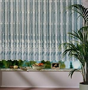 Vorhang, Fertiggardine reinweiß mit klein gebogten Abschluss, aus hochwertigem Jacquardstore in Florentiner Optik, Größe 245 cm x 600 cm    Kundenbewertung und Beschreibung