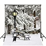5x7ft Snow Covered Bench Streetlight Christmas Photography Backdrop no Crease Photo Background FT0267