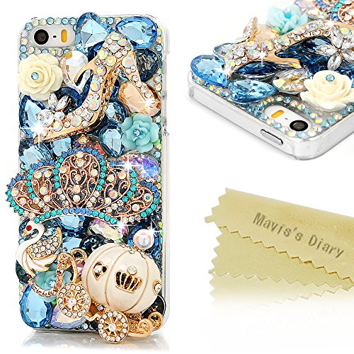 iPhone SE Case,iPhone 5S Case,iPhone 5 Case - Mavis's Diary 3D Handmade Bling Blue Diamond Crown Gold Pumpkin Car High-heeled Shoe Cute Swan Colorful Flowers Shiny Rhinestone Gems Clear Hard PC Cover (Iphone 5 Case Gem compare prices)
