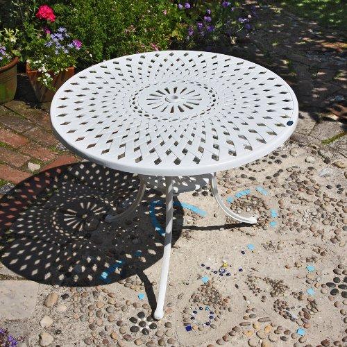 MIA tavolo rotondo da giardino 90cm in alluminio bianco