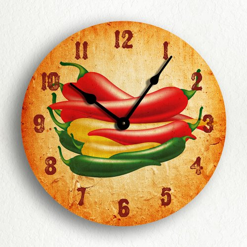 Chili Peppers Kitchen Clock