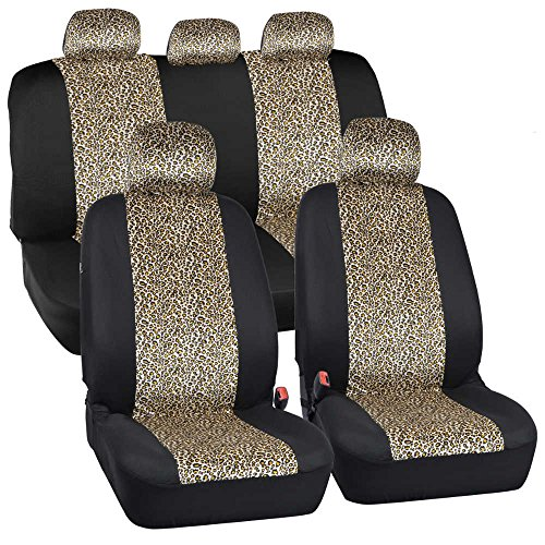 ComfySeats Velvet Animal Car Seat Covers Two Tone Cheetah Accent on Black 9pc Set (Animal Print Seat Covers For Suv compare prices)