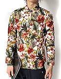 (リピード) REPIDO シャツ メンズ 長袖シャツ カジュアルシャツ 花柄 A.ホワイト Lサイズ