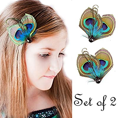 KISSPAT® Set of 2 Flower Girl Peacock Feather Hair Clip, Feather Hair Pins, Wedding Feather Fascinator, Bridesmaid Gift Peacock Accessory 2 PCS